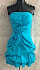 Sexy Sequin Hearts Gorgeous Light Teal Blue Strapless Party Prom Dress Flowers 5