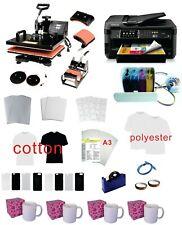"5in1 15x15"" Pro Sublimation Heat Press Epson 7710 11""x17"" Printer CISS kit"