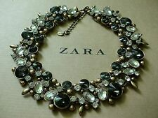 Zara Ethno mega statement Kette necklace boho top Blogger Glitzer gold.....