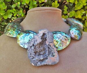 SILVER DRUZY CRYSTAL GEODE PENDANT PUFFY ABALONE PAUA XL NECKLACE PEARL SEA OPAL