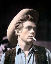 """JAMES DEAN GIANT HOLLYWOOD ACTOR & MOVIE STAR 8x10"""" HAND COLOR TINTED PHOTOGRAPH"""