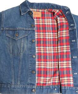 vtg Levi's BLUE JEAN Flannel Lined Jacket Youth sz 18 redtab Early 80s trucker