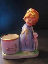 NEW Vtg CHRISTMAS ANGEL Candle Holder BISQUE PORCELAIN Figurine By JASCO 1978