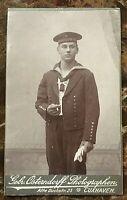 ORIGINAL PRE WW1 GERMAN MATROSEN ARTILLERIE KIAUTSCHOU MARINE CABINET PHOTO 1905