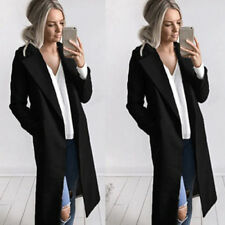 US Women Ladies Winter Warm Wool Lapel Long Coat Trench Jacket Overcoat Outwear
