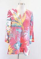 Soft Surroundings Havana Tunic Striped Tropical Floral Knit Top Blouse Size S
