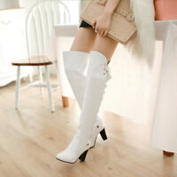 Women Party Thigh Boots Lace up Pointed Toe High Block Heel Leather Casual Shoes