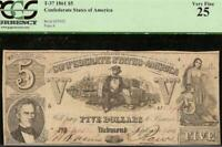 1861 $5 DOLLAR BILL CONFEDERATE STATES CURRENCY CIVIL WAR NOTE BETTER T-37 PCGS