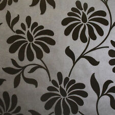 Graham & Brown WAS $155, NOW $40 Ophelia Brown Flock Wallpaper 33' x 20.5""