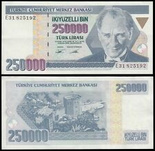 Turkey 250,000 (250000) Lira, 1998, P-211, Circulated, Used