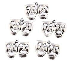 Lots 10pcs mask theatre comedy tragedy art Tibetan Silver Bead charms Pendants