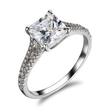 Engagement Ring Split Shank Princess Cut Solitaire 14K White Gold SYRIA CHARITY