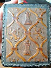 ☆VTG MEDIEVAL RENAISSANCE STYLE TRINKET  BOX W LIONS TOWERS FINE LEATHER ITALY