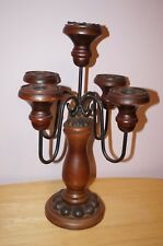 New listing Vintage Wood And Wrought Iron Candelabra 5 branches from 1960s