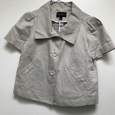 Banana Republic Women's Blazer Crop Jacket Tan Short Sleeve Cotton Linen XS