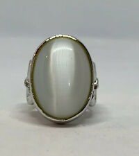 925 Sterling Silver Giant Oval White Glass Pearl S Ring Size 7