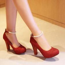Fashion Womens Pumps High Heel Platform Glitter Pearl Strap Buckle Wedding Shoes