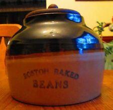 Large 1 Gal Boston Baked Beans Blue print brown tan jug stoneware Red Wing?