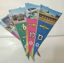 A Vintage Colorful Set Of 8 Flags With IDF Forces Symbols And Photos