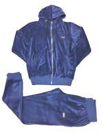 Time is money velour jogging set, super star hip hop mens tracksuit slim fit blu