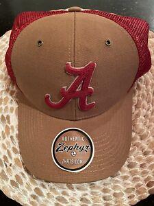 Alabama Tuscaloosa Embroidered Hat Cap Zephyr University Team Hat OSFM Red Brown