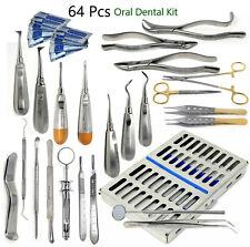 German 64 Pc Oral Dental Surgery Extracting Elevators Forceps Instrument Kit Set