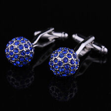 Blue Full Crystal Cuff link Silver Business Cufflink Spherical Wedding Cufflinks