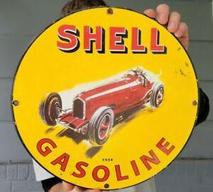 OLD VINTAGE DATED 1934 SHELL MOTOR OIL PORCELAIN GAS STATION PUMP GASOLINE SIGN