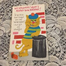 Vintage Greeting Card Birthday Cat Garbage Can Alley