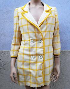 VESTE épaisse à carreaux blancs et jaunes (44) Vintage 70's 1970