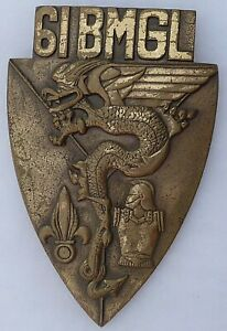 Plaque murale bronze 61° BMGL Légion Etrangère Canjuers 1980 ORIGINAL REP GENIE
