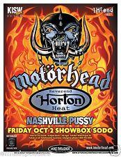 MOTORHEAD/REVEREND HORTON HEAT/NASHVILLE PUSSY 2009 SEATTLE CONCERT TOUR POSTER