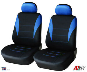 CAR VAN MOTORHOME BUS MPV TRUCK 1+1 UNIVERSAL BLUE-BLACK FRONT SEAT COVERS NEW