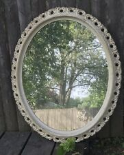 Vintage Hollywood Regency Wall Hanging Mirror White Wash Frame Mounted Filigree