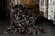 511 Luxurious Silver Fox Sides Fur Blanket Genuine Fox Fur Blanket Real Fox Fur