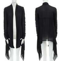 RICK OWENS black soft fitted leather sleeves draped sheer silk jacket US4 S