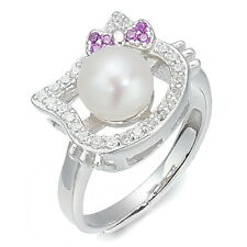 Lovely Hello Kitty Clear Crystal Pearl 925 Sterling Silver Resizable Ring