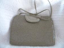 Vintage Whiting & Davis Crossbody Chain Mesh Purse Beige/Excellent Condition