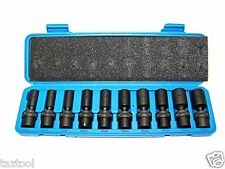 "10 Pc 3/8"" Drive Universal Swivel Deep Impact Socket Set CR molybdenum METRIC"