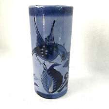 Blue Hand Painted Clay Ceramic Bird and Flower Design Vase Signed Mexico JJC