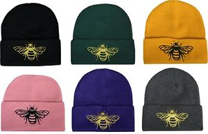 Honey Bee Beanie Hat Embroidered Nature Bugs Botanical Bumble Bee