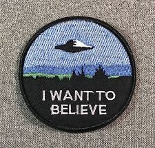 I WANT TO BELIEVE Patch 3in iron-on patch UFO Alien si