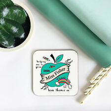 Personalised Abstract Apple - Teacher Wooden High Gloss Coaster - Gifts for Her