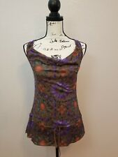 DKNY Jeans Sheer Drawstring Hem Sleeveless Blouse Multi-Color Women's Sz XS NWOT