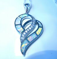 "STUNNING WHITE FIRE OPAL DOUBLE HEART 925 SILVER PENDANT + 20"" SILVER CHAIN."
