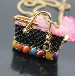 607  Betsey Johnson shiny crystal enamel cute handbag pendant Necklace