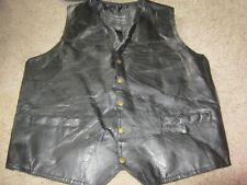 Mens Vest Genuine Leather Patch Italian Stone Design Navarre Co. Snap Buttons XL