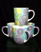 Libbey Ceramic Coffee Tea Cups Mugs Set of Four (4) Floral
