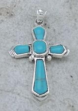 UNIQUE 925 STERLING SILVER TURQUOISE CROSS PENDANT   style# p0934