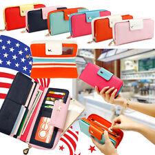 Moda de Dama mujer largo clutch cartera Cuero Billetera soporte de tarjeta Bolso de mano Bolsos